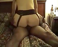 Kinky golden-haired wench enjoys ardent interracial sex
